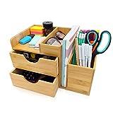 dgregio Schreibtisch Organizer Bambus, Nachhaltiger Büroorganizer mit Stiftehalter, Stifteköcher und Schubladen für Büromaterial HxBxT: 16,5x27x16 cm