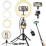 LED Ringlicht mit Stativ Bluetooth-Fernbedienung, 10' Selfie Ringleuchte Doppel-Handyhalter mit 3 Farbe und 10 Helligkeitsstufen, Verstellbarer Stativständer, Selfie Stick für Tik Tok/YouTube/Makeup