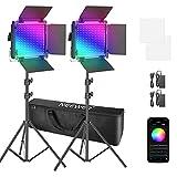 Neewer 2er Pack 660 RGB LED-Licht mit APP-Steuerung, Fotografie Video Beleuchtungsset mit Ständern, Softbox und Tasche, dimmbare 660 SMD-LEDs/CRI95/3200K-5600K/0-360 Farben/9 anwendbare Szenen