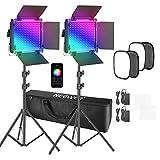 Neewer 2er Pack 660 PRO RGB LED Video Licht mit APP-Steuerung Softbox Kit, 360° Vollfarbe, 50W Videobeleuchtung CRI 97+ für Spiele, Streaming, Zoom, YouTube, Rundfunk, Webkonferenz, Fotografie