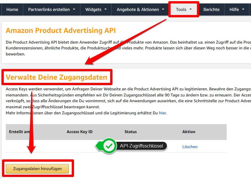 Die API Schlüssel für das AAWP-Plugin im Amazon PartnerNet generieren