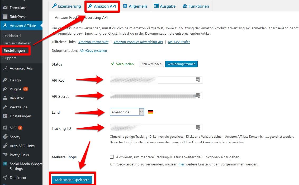 Die Amazon-API Zugriffsschlüssen AAWP-Plugin einfügen