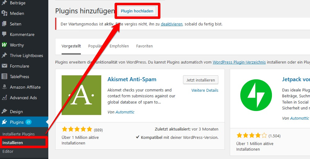 Das AAWP-Plugin in WordPress hochladen