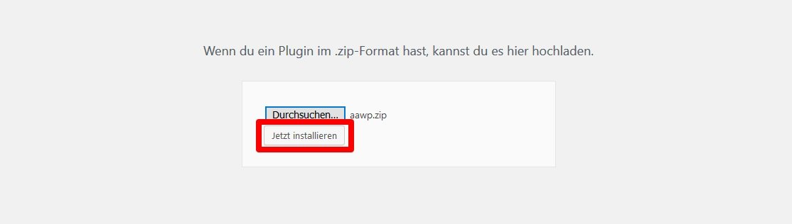 Das AAWP-Plugin in WordPress installieren