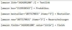 AAWP Shortcodes: Produktbox, Neuerscheinungen, Bestseller-Listen, Textlink, Fields