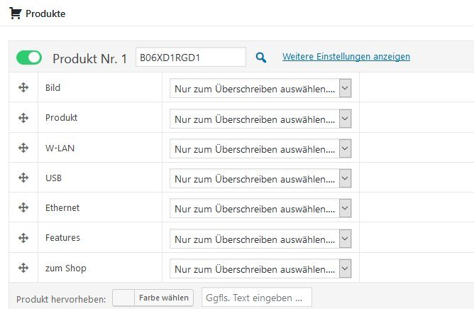 Amazon Affiliate for WordPress - Produkte Vergleichstabellen