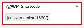 AAWP - Shortcode für die Vergleichstabellen