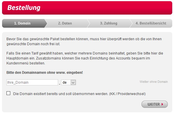Bestellung bei all-inkl.com - Paket all-inkl Privat