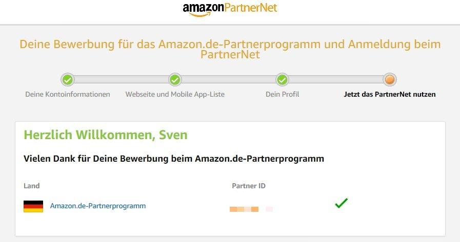 Amazon PartnerNet - Anmeldung erfolgreich