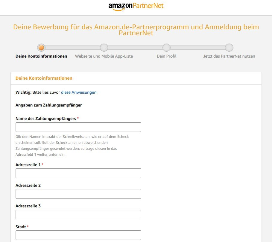 Amazon PartnerNet: Deine Kontoinformationen