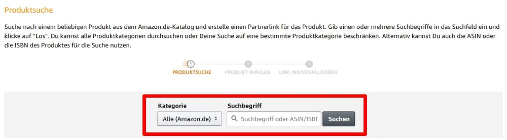 Amazon PartnerNet - Produktlinks erstellen