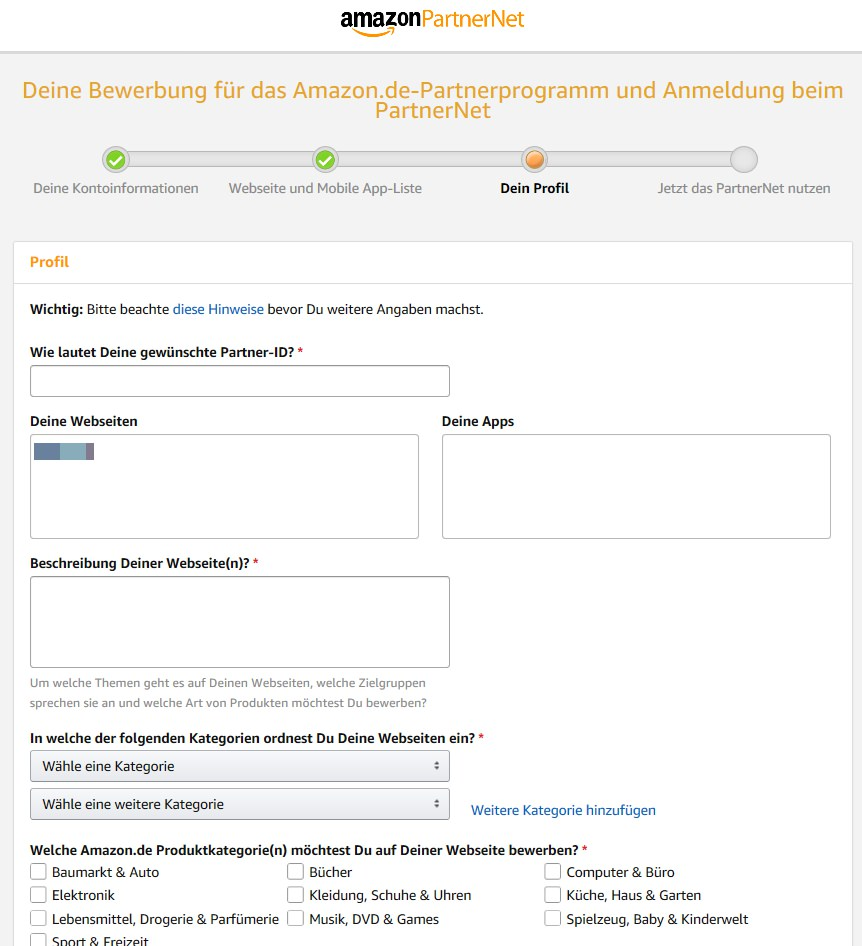 Amazon PartnerNet Profil