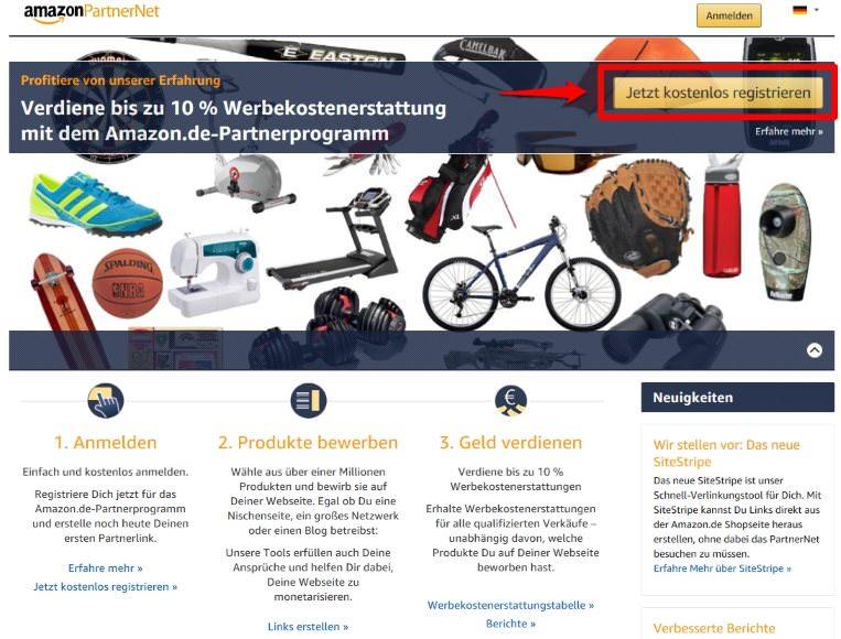 Kostenlos beim Amazon PartnerNet registrieren