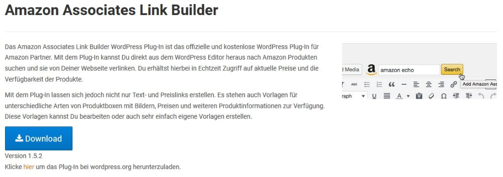 Amazon PartnerNet - Link Builder-Plugin für WordPress