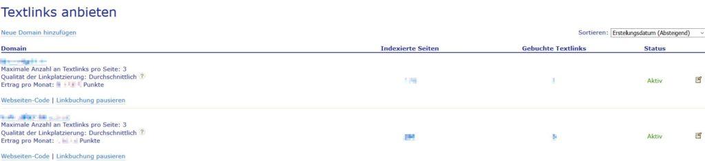 Textlinks anbieten / verkaufen in Backlinkseller