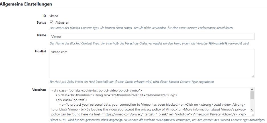 Borlabs Cookie 1.9 - Blocked Content Types Allgemeine Einstellungen
