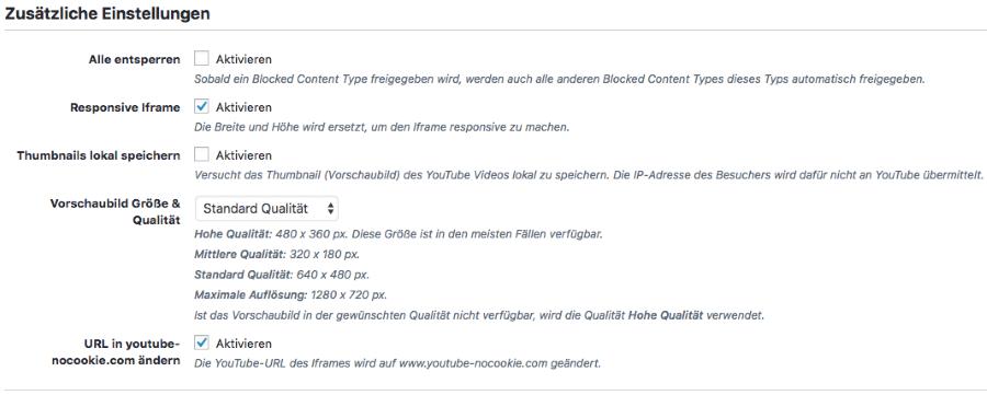 Borlabs Cookie 1.9 - Blocked Content Types Zusätzliche Einstellungen