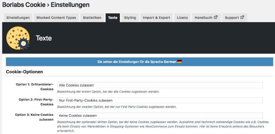 Borlabs Cookie 1.9 - Multilanguage (WPML und Polylang)