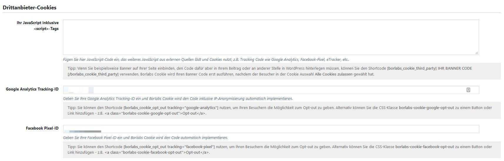 Borlabs Cookie: Drittanbieter Cookies via JavaScript oder Tracking-ID für Google Analytics und den Facebook-Pixel