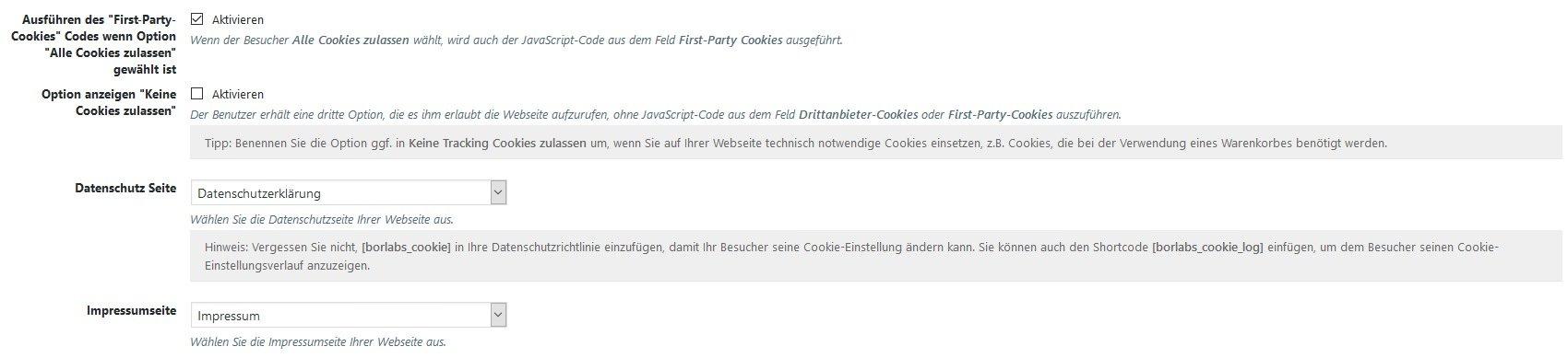 Ausführung von Drittanbieter-Cookies sowie First-Party-Cookies in Borlabs Cookie