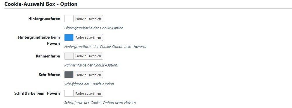Styling der Auswahl-Box Optionen in Borlabs Cookie