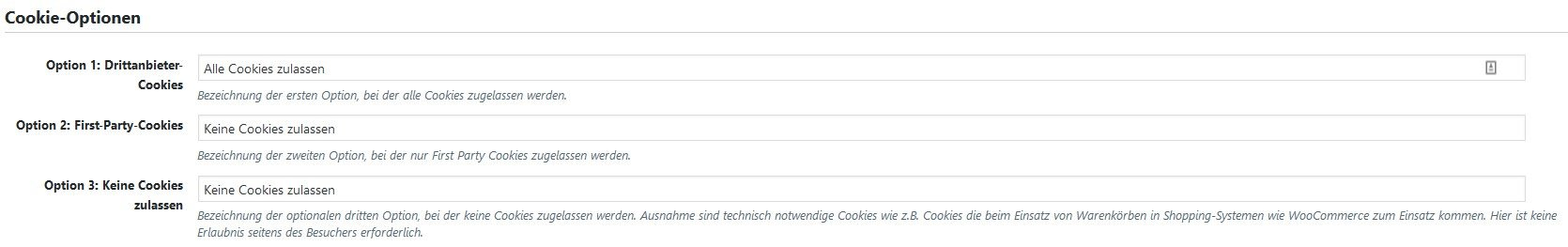 Texte für die Cookie-Optionen in Borlabs Cookie