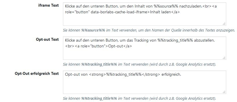 Texte in Borlabs Cookie für iframe und Opt-Out
