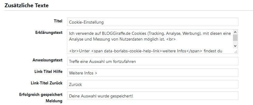 Texte in der Cookie-Auswahl-Box von Borlabs Cookie