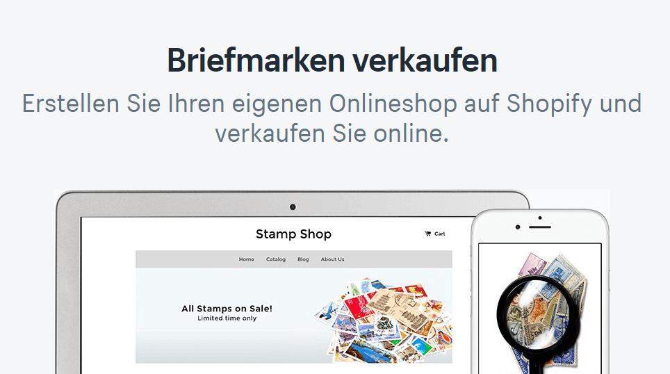 Briefmarken verkaufen mit einem Online-Shop bei Shopify