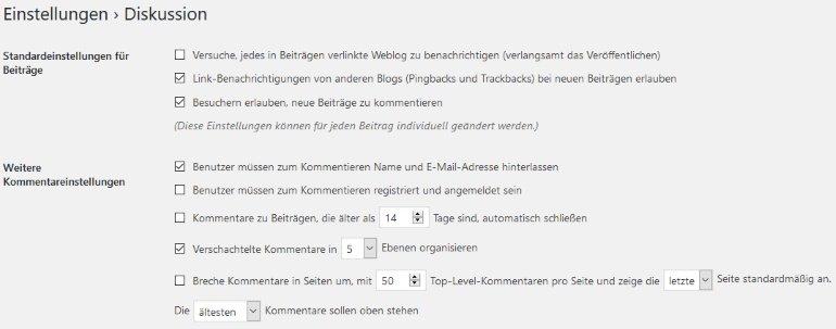 Diskussion - WordPress-Einstellungen