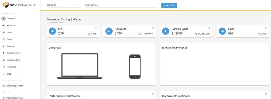 Domainvalue - Kostenloses SEO-Tool