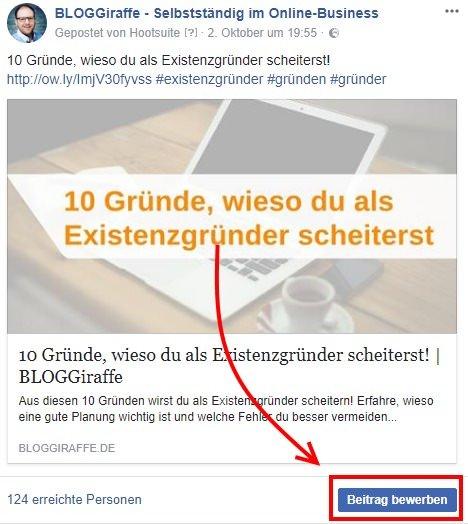 Facebook Fake-Likes: Beitrag bewerben