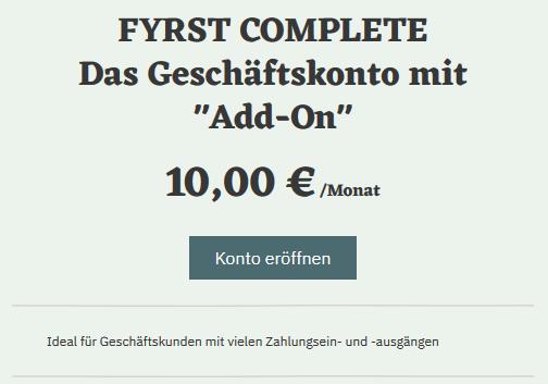 FYRST Geschäftskonto COMPLETE