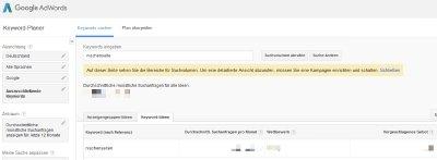 Nischenseite: Keyword Planer - Keyword-Tool