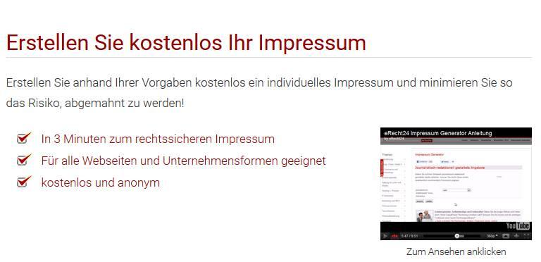Impressum Generator eRecht24.de