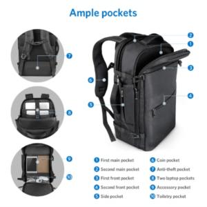 Inateck Reiserucksack: Taschen und Fächer im Überblick