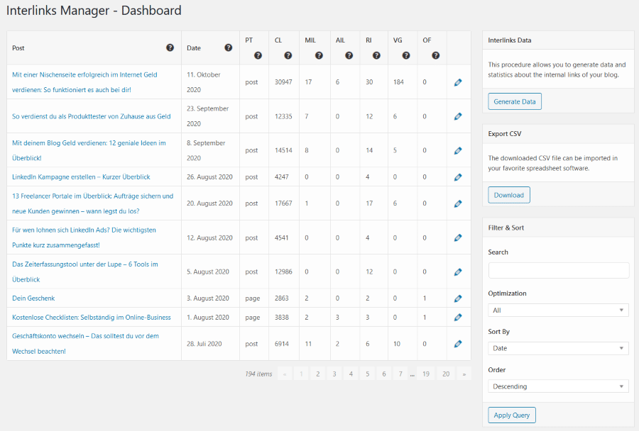Interlinks Manager - Dashboard