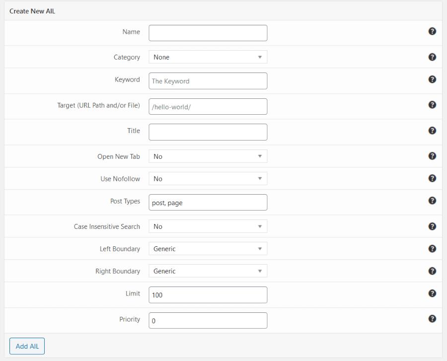 Interlinks Manager - Keywords