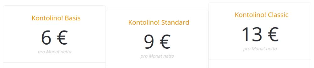 Kontolino Buchhaltungssoftware - Preise: Basis, Standard, Classic