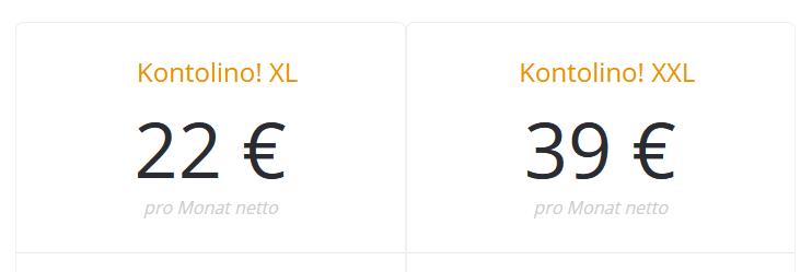 Kontolino Buchhaltungssoftware - Preise: XL und XXL