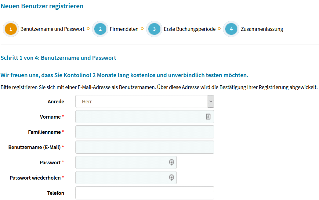 Kontolino Buchhaltungssoftware Nutzer registrieren