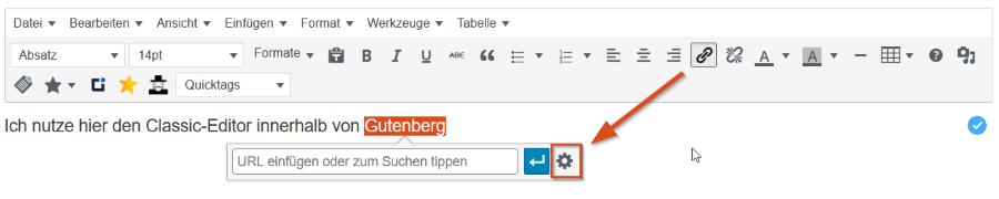 Link einfügen WordPress Editor