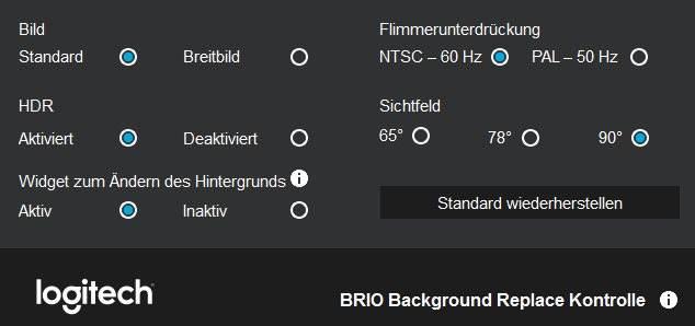Logitech BRIO 4k Ultra HD Einstellungen