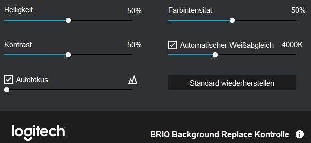 Einstellungen - Logitech BRIO 4k Ultra HD
