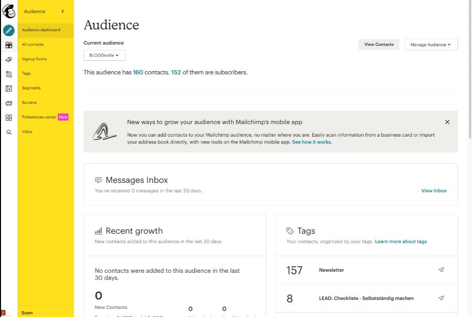 Mailchimp: Audience / Zielgruppenverwaltung