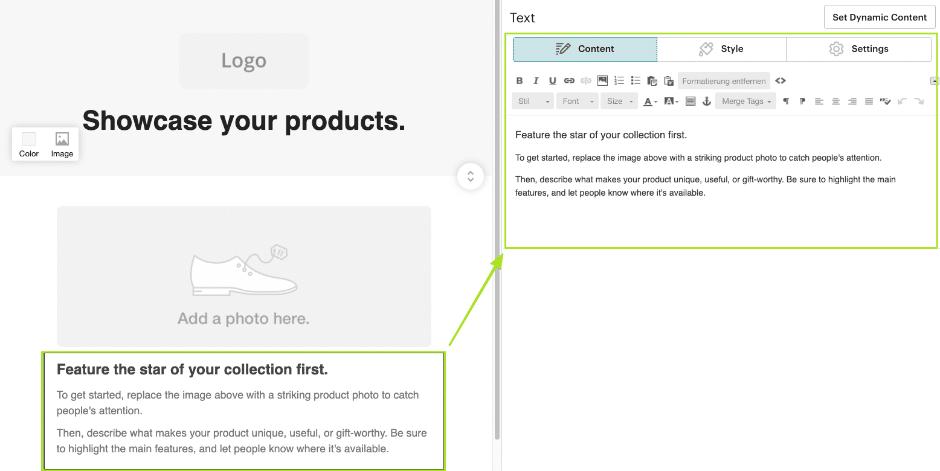 Mailchimp Content-Editor Elemente