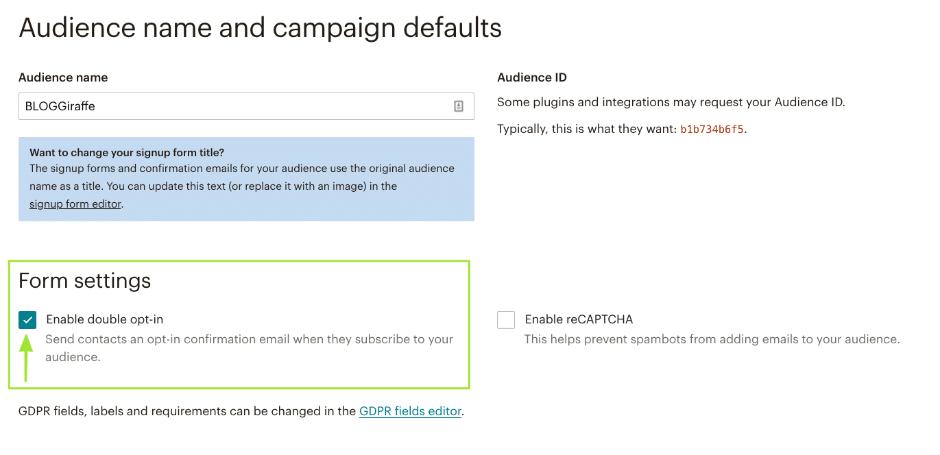 Mailchimp: Double Opt-In aktivieren