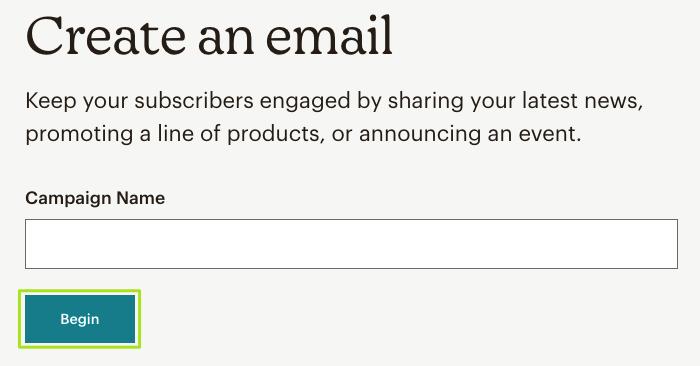Mailchimp Newsletter erstellen: Kampagnenname