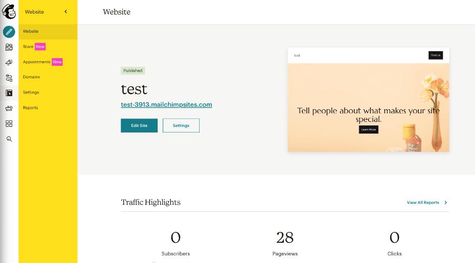 Mailchimp: Website & Landingpage