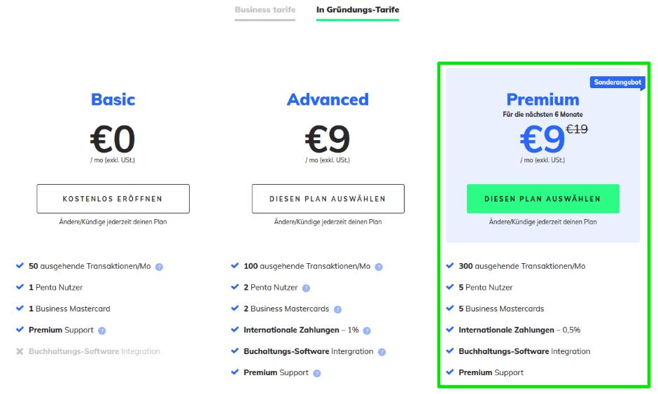 Penta Geschäftskonto - Gründertarif